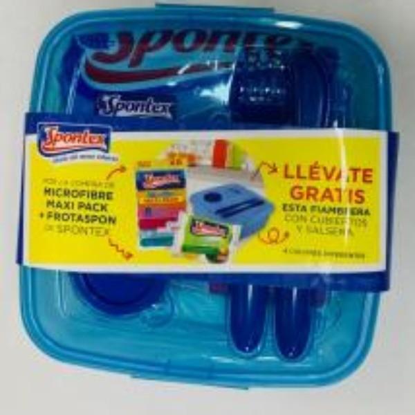 Spontex Lote fiambrera con cubiertos y salsera gratis