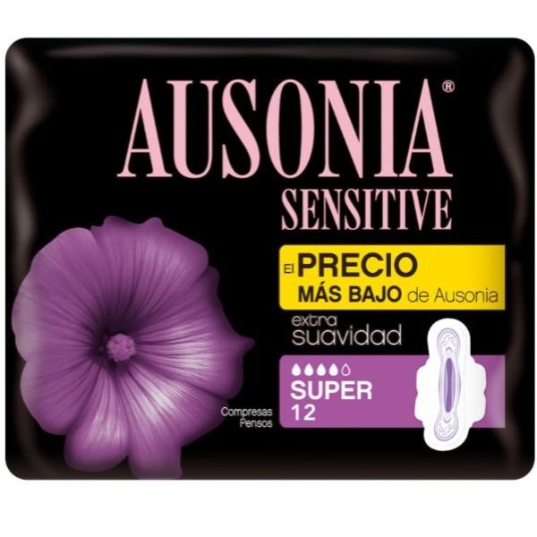 Ausonia Sensitive compresas con alas Super 12 uds